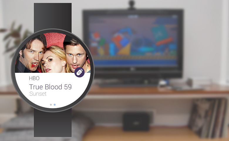 Android Wear shows the current tv program.