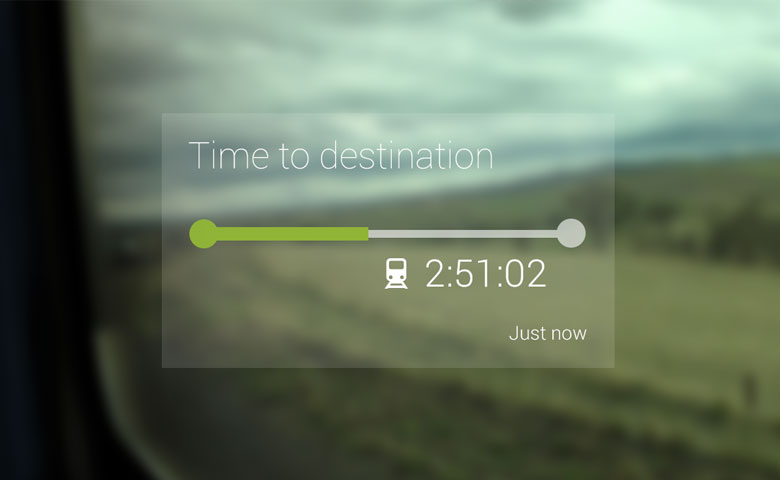 Google Glass gives travel information about your journey.