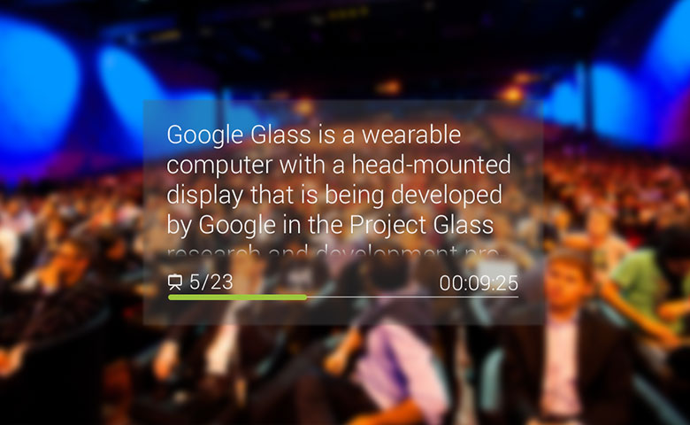 Google Glass shows presentation slides.